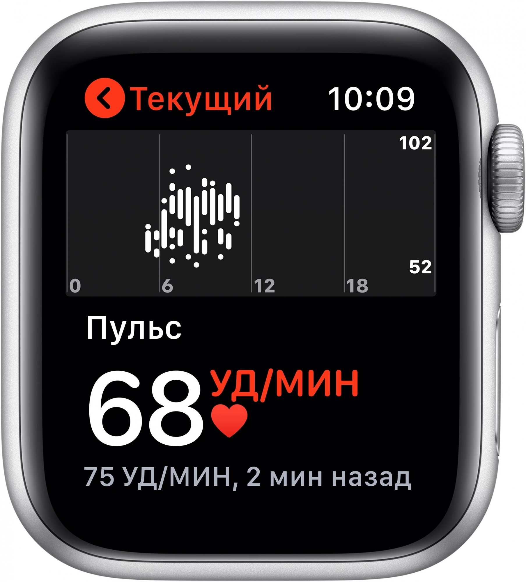 Apple Watch Series 5, 40 мм, серебристый алюминий, спортивный браслет белого цвета (MWV62)