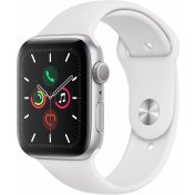 Apple Watch Series 5, 44 мм, серебристый алюминий, спортивный браслет белого цвета (MWVD2)