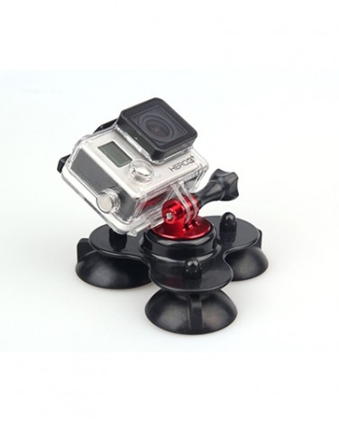 Крепление Neomark присоска для GoPro Hero Low Base Three Vacuum Suction Cups, красный